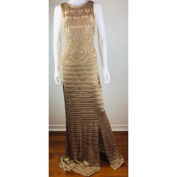 5cba984a18c8 Venus Gold Crochet Knit Split Knee Sweater Dress. M 5c130b54de6f62412783f533